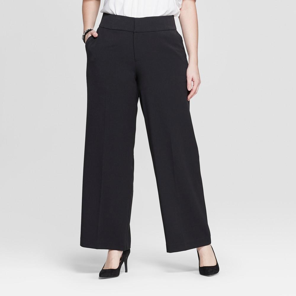 Women's Plus Size Wide Leg Trouser Pants - Ava & Viv Black 22W