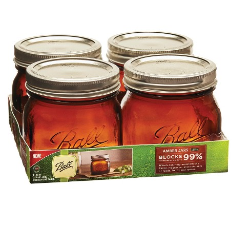 Ball 16oz 4pk Amber Jars Wide Mouth - image 1 of 5