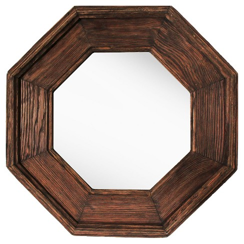 Octagonal Decorative Wall Mirror Rustic Wood Finish - PTM Images ...