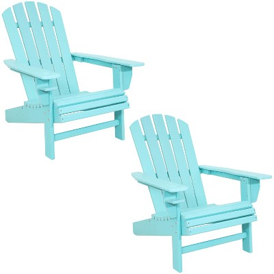 Sunnydaze All-Weather HDPE Outdoor Patio Adirondack Chair with Drink Holder, Turquoise, 2pk
