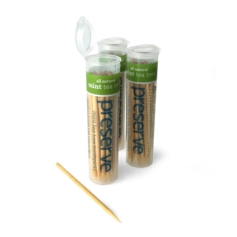 Image of Preserve Toothpicks Mint Tea Tree Dental Picks - 3ct