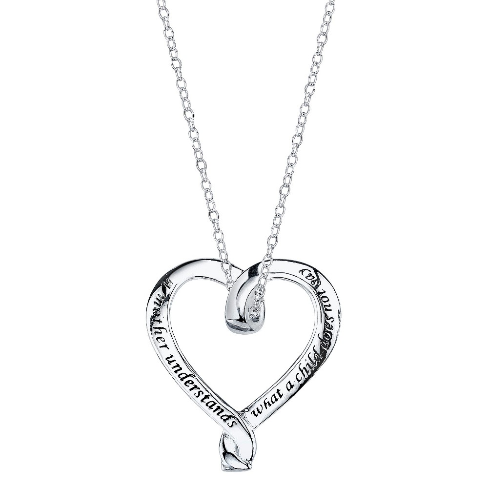 Women's Sterling Silver Mother Ribbon Heart Necklace - Silver