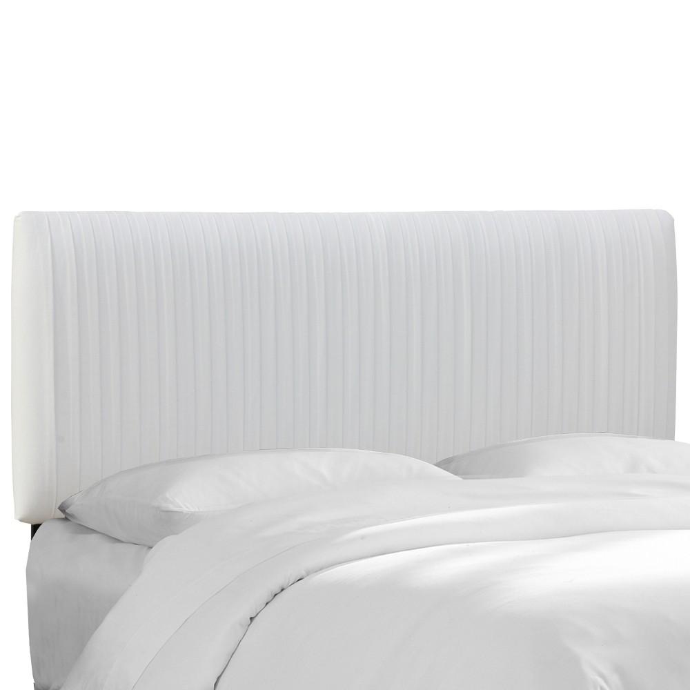 Twin Skylar Upholstered Pleated Headboard White Velvet - Cloth & Co.