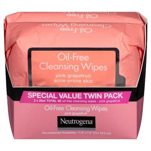 Neutrogena® Oil-Free Cleansing Wipes - Pink Grapefruit - 50ct/2pk - image 1 of 1