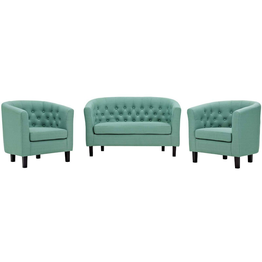 Image of 3pc Prospect Upholstered Fabric Loveseat & Armchair Set Laguna - Modway
