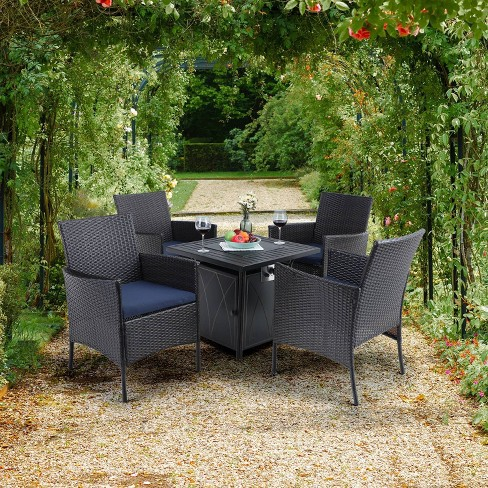 5pc Patio Set With Wicker Chairs 28, Rattan Garden Furniture Set With Fire Pit Table