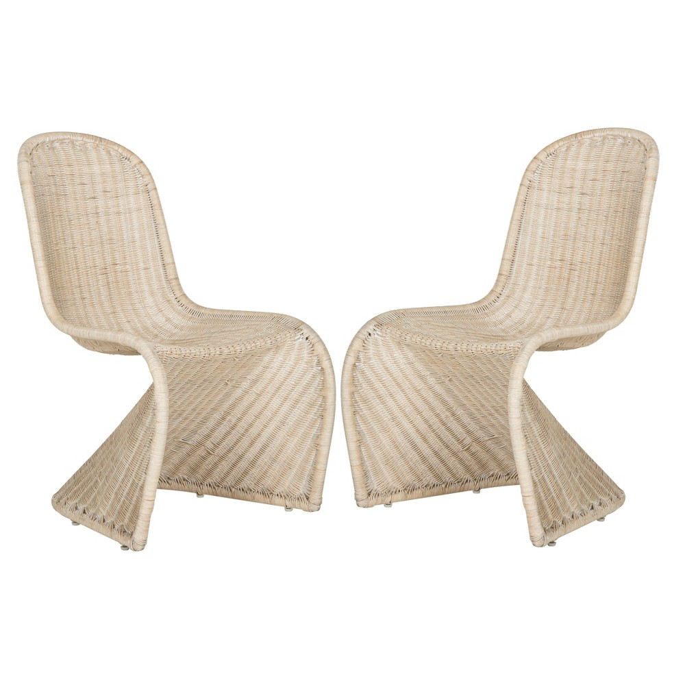 Ana Wicker Side Dining Chair - Natural (Set of 2) - Safavieh