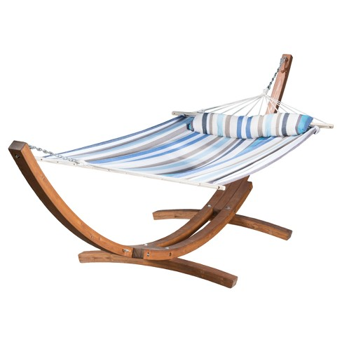 Grand Cayman Patio Hammock - Teak and Multistripe - Christopher Knight Home - image 1 of 4