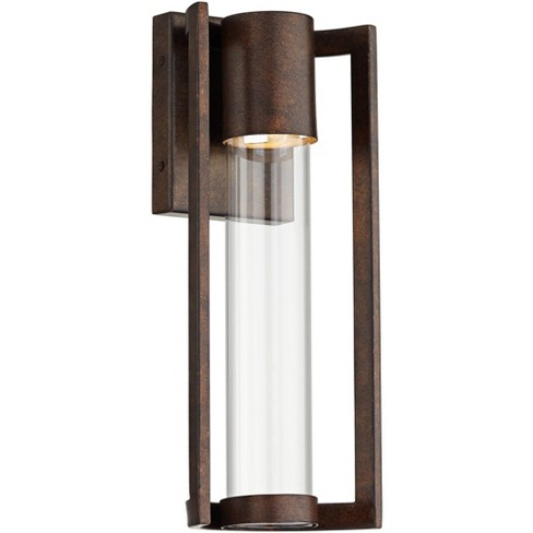 Possini Euro Design Modern Outdoor Wall Light Fixture Led Bronze 15 Clear Glass Cylinder For Exterior House Porch Patio Deck Target