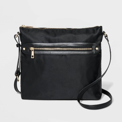 Zip Closure Messenger Crossbody Bag - A New Day™ Black