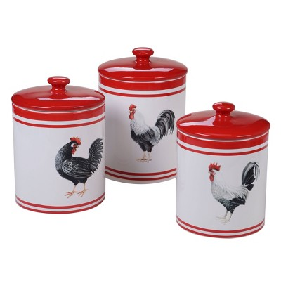 3pc Earthenware Homestead Rooster Canister Set White - Certified International