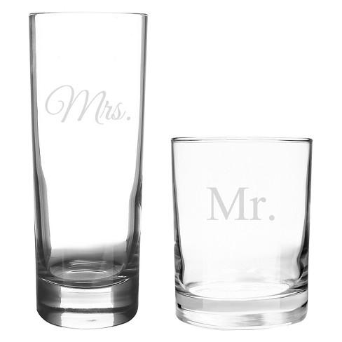 2ct Mr Mrs Wedding Cocktail Set
