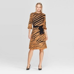 Women's Animal Print 3/4 Sleeve High Neck Intarsia Sweater Mini Dress - Who What Wear™