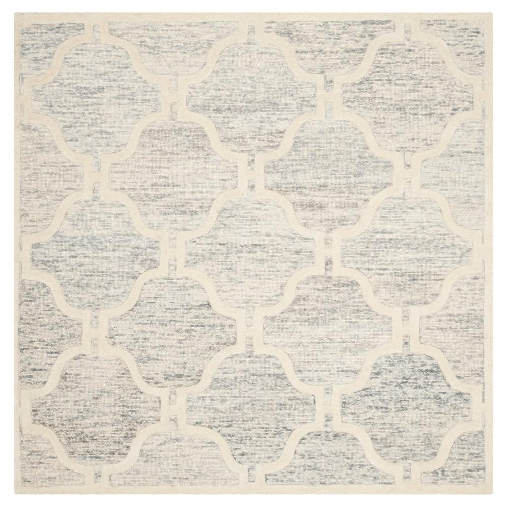 Light Gray/Ivory Geometric Tufted Square Area Rug - (6'X6') - Safavieh