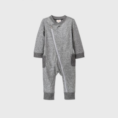 Baby Boys' Zip Front Romper - Cat & Jack™ Black 0-3M