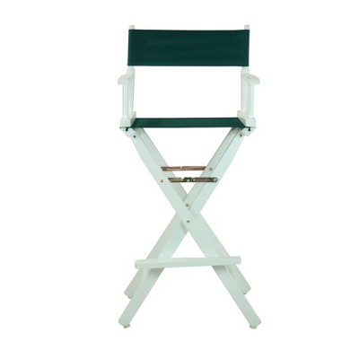 Hunter Green Bar Height Director's Chair-White