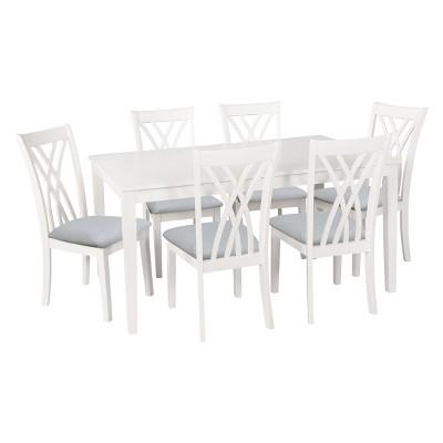 7pc Powell Company Roslyn Dining Table Set White - Powell Company