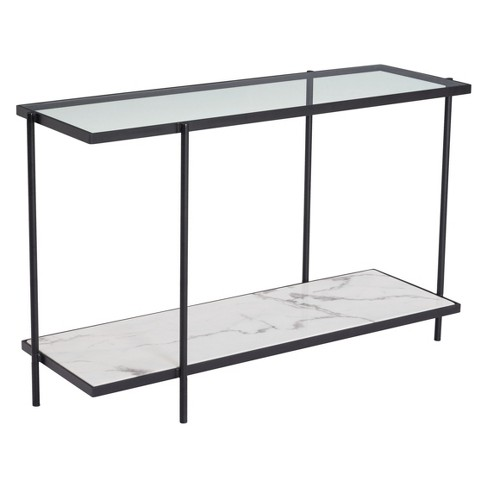 "46"" Modern Faux Marble Console Table Matte Black - ZM Home - image 1 of 4"