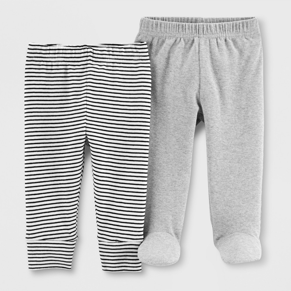 Image of Baby 2pk Leggings - Just One You made by carter's Gray/White 3M, Kids Unisex