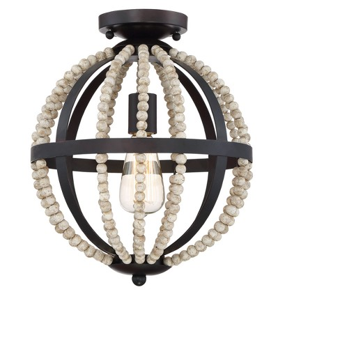 Oil Rubbed Bronze Flush Mount With Natural Wood Target