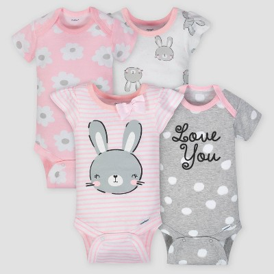 Gerber Baby Girls' 4pk Bunny Short Sleeve Onesies Bodysuit - Pink/Gray 3-6M