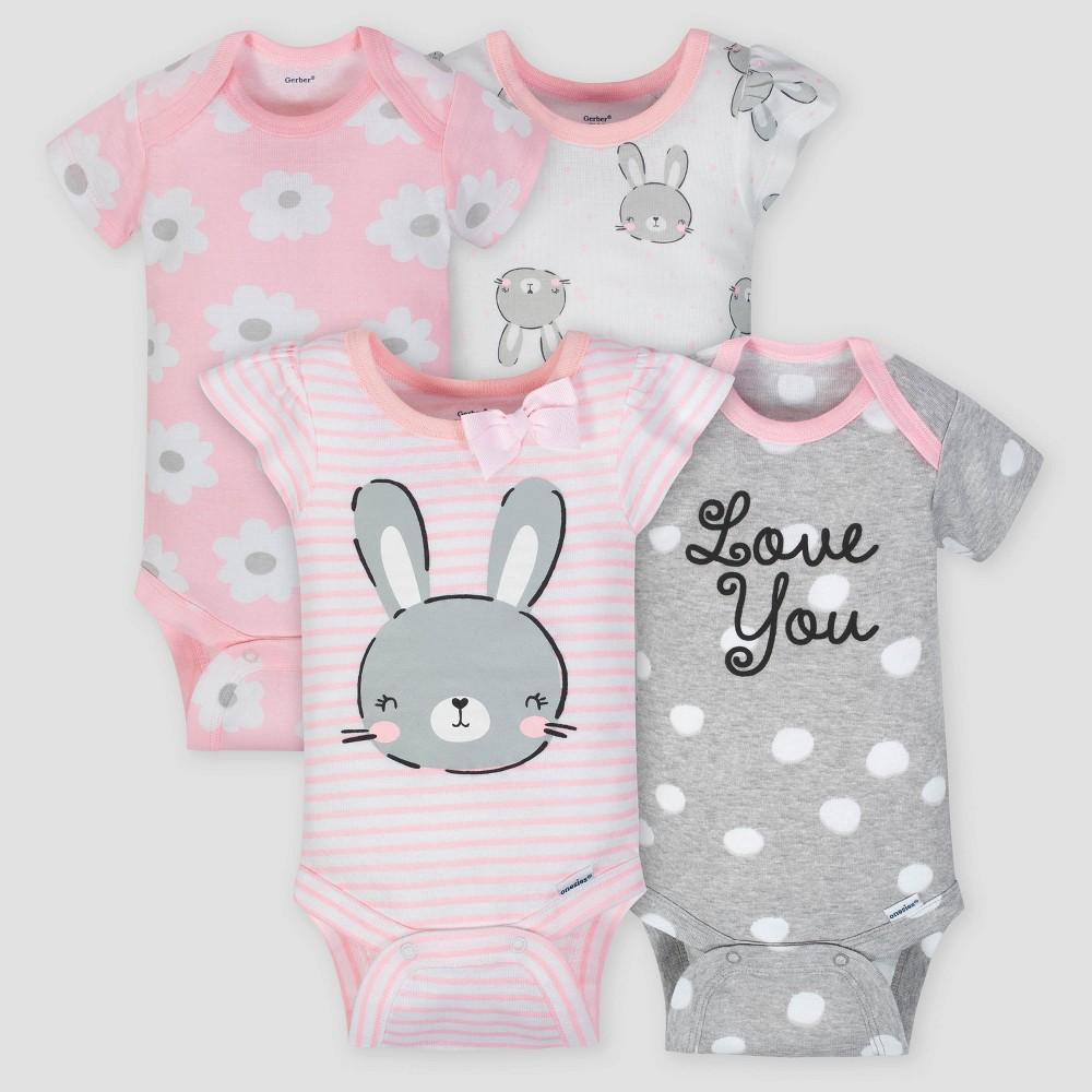 Gerber Baby Girls' 4pk Bunny Short Sleeve Onesies Bodysuit - Pink/Gray 0-3M