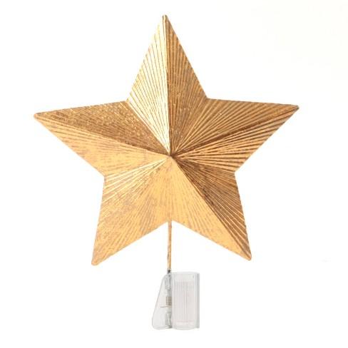 Unlit Textured Foil Star Christmas Tree Topper Gold Wondershop
