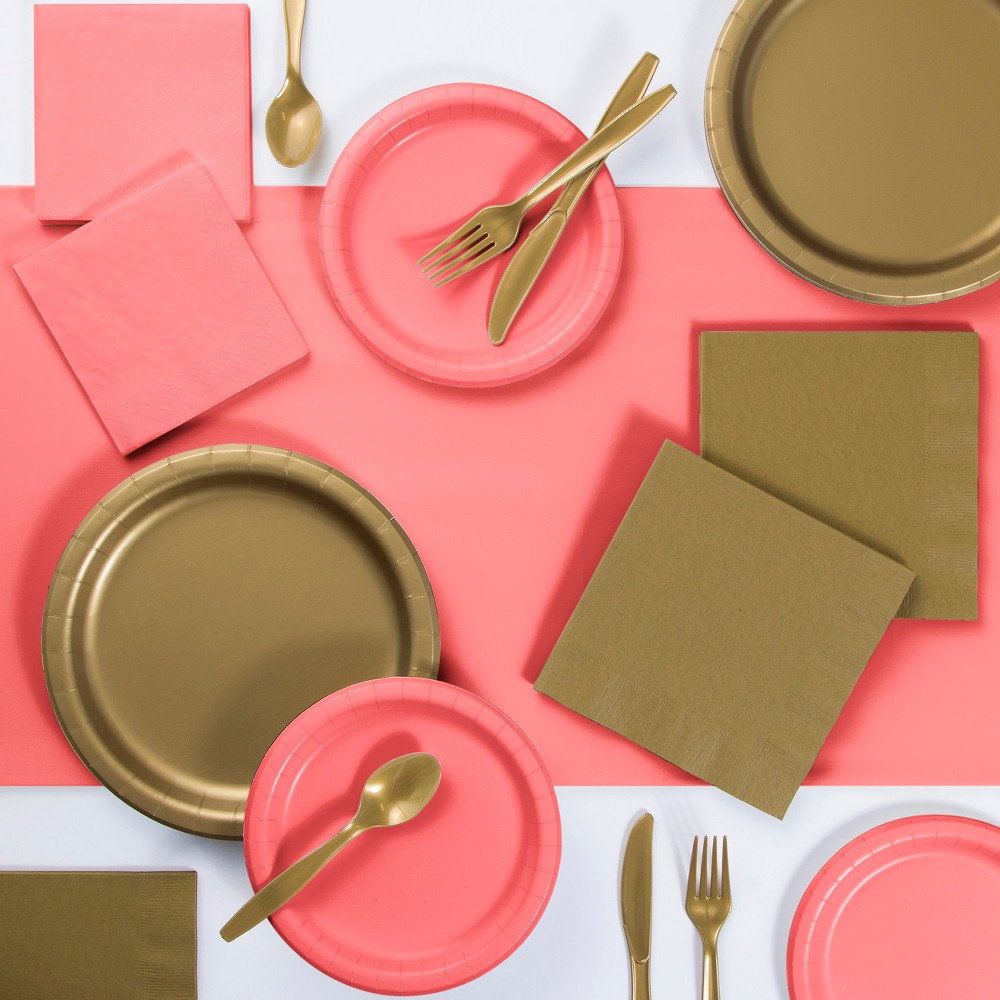 221pk Party Supplies Kit Coral/Gold (Pink/Gold)