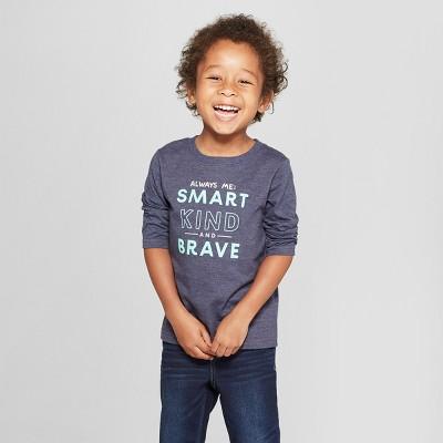 Toddler Boys' Always Me: Smart, Kind, and Brave Long Sleeve T-Shirt - Cat & Jack™ Navy 3T