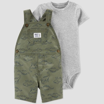 Baby Boys' 2pc Dino Print Shortall Set - Just One You® made by carter's Gray/Olive Newborn