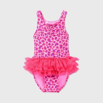 Toddler Girls' Leopard Print Tutu One Piece Swimsuit - Cat & Jack™ Pink