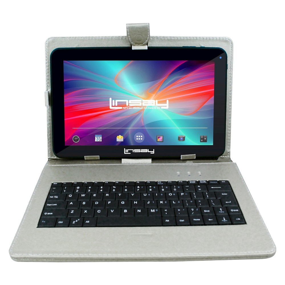 "LINSAY 10.1"" 1024x600 HD Quad Core 16GB Internal Memory Tablet with Silver Keyboard Case"