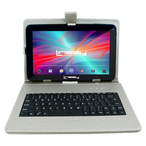 """LINSAY 10.1"""" Quad Core Tablet with Silver Keyboard Case 32GB - image 1 of 3"""