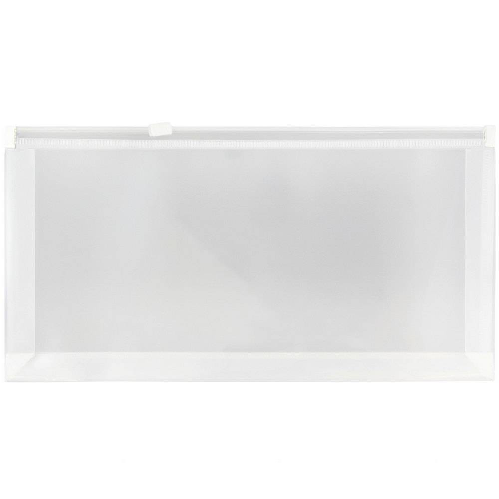 Jam Paper 5'' x 10'' 12pk Plastic Envelopes with Zip Closure - Clear