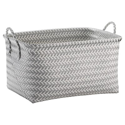 Large Woven Rectangular Storage Basket Gray and White - Room Essentials™
