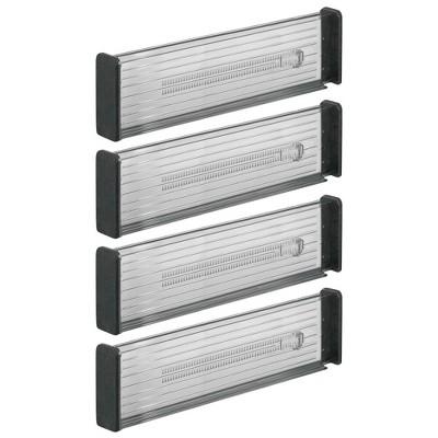 mDesign Expandable Kitchen Drawer Divider, Secure Lock, 4 Pack