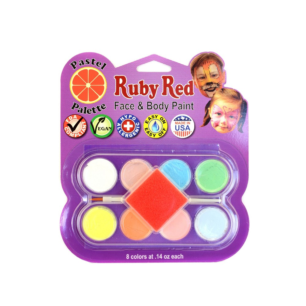 Image of Face & Body Paint Kit Artist Palette Pastel Colors 8ct - Ruby Red