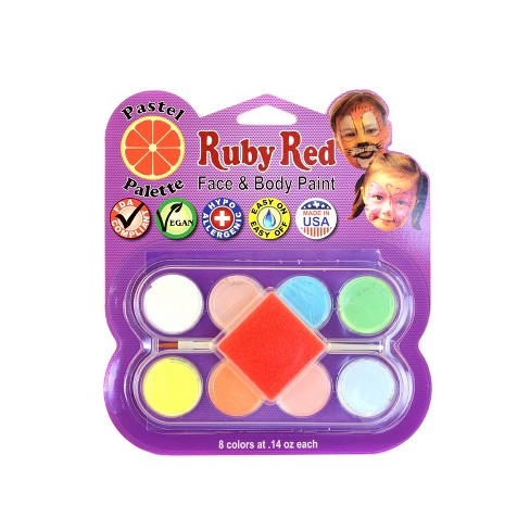 Face Body Paint Kit Artist Palette Pastel Colors 8ct Ruby Red