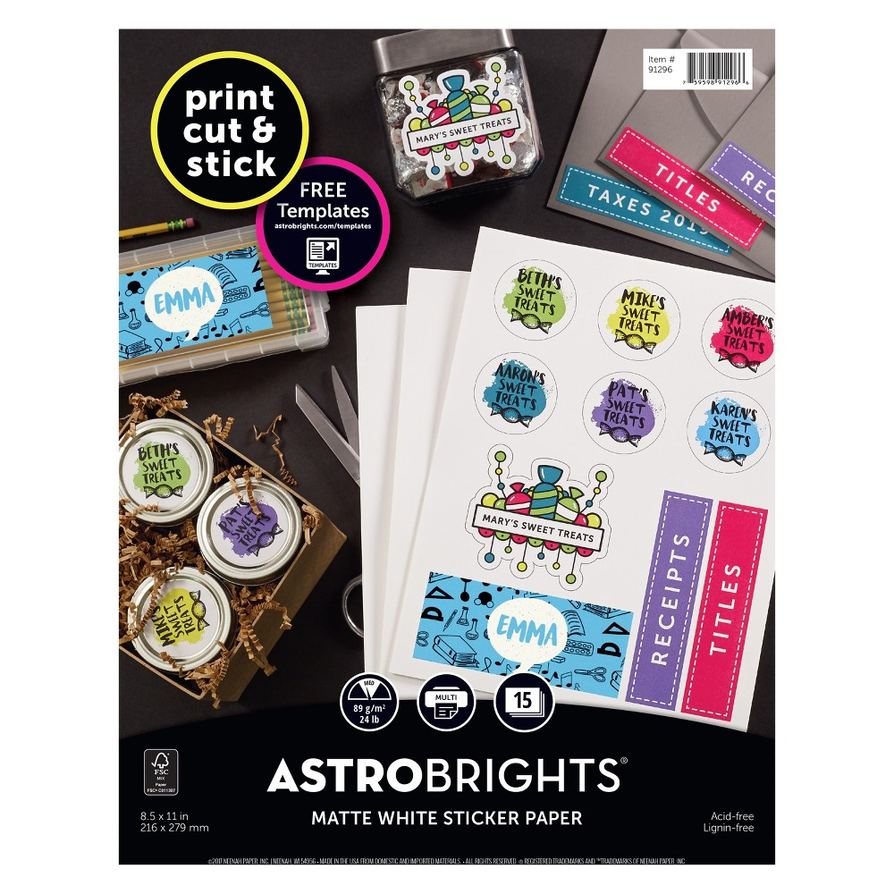 15ct Matte Sticker Paper White - Astrobrights Create with unrestrained enthusiasm. Astrobrights Sticker Paper features a fully stickered-back for creativity that colors outside the lines. Create custom designs in every color, shape, and size or choose from our selection of premium templates online for out-of-this-world labels, stickers, badges, scrapbooking pieces, and so much more. Simply, print, cut, and peel for one-of-a-kind creations that truly stick! Brighter colors. Brighter ideas. Works Great with Color Paper Achieve a consistent look for your project with perfect pairings. Use Astrobrights Sticker Paper with Astrobrights Color Paper or, pair it with Astrobrights Cardstocks or Neenah Bright White Card Stock for bold, brilliant impact. A Brighter Shade of Green Neenah is committed to conserving our natural resources through responsible business and manufacturing policies and practices. Neenah manufactures a wide selection of green papers including Fsc certified, Green Seal certified, Green-e certified and Carbon Neutral Plus papers.