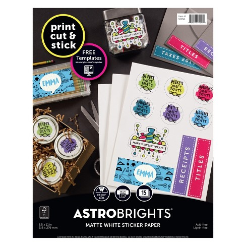 15ct Matte Sticker Paper White - Astrobrights - image 1 of 5