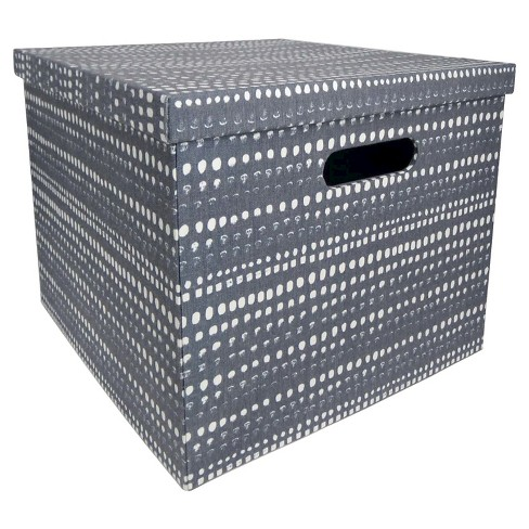 Lidded Large Milk Crate - Navy Dots - Room Essentials™ - image 1 of 1