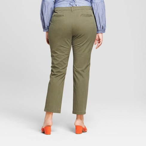 a64c959cf40 Women s Plus Size Slim Chino Pants - A New Day™ Olive 26W   Target