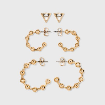 Stud and Ball Hoop Trio Earrings - A New Day™ Gold
