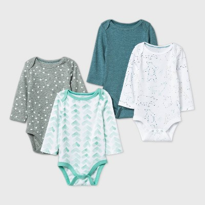 Baby Boys' 4pk Starry Slumber Long Sleeve Bodysuit - Cloud Island™ Green/White/Gray