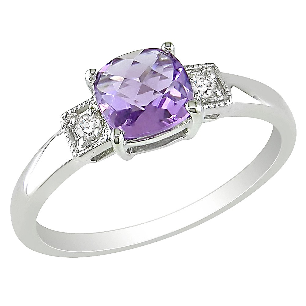 4/5 CT. T.W. Amethyst and Diamond Accent Ring in Sterling Silver - Violet, Size: 9.0, Silver White Purple