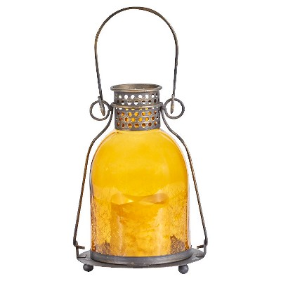 "Smart Living 11"" Monaco Glass LED Candle Outdoor Lantern - Amber"