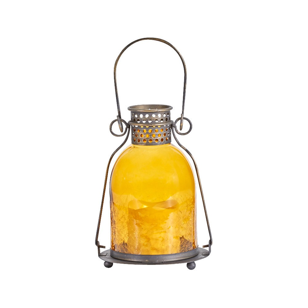 "Image of ""Smart Living 11"""" Monaco Glass LED Candle Outdoor Lantern - Amber"""