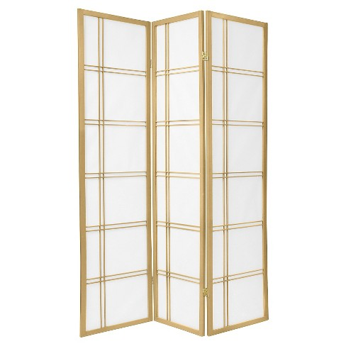 6 ft. Tall Double Cross Shoji Screen - Special Edition - Gold (3 Panels) - image 1 of 1