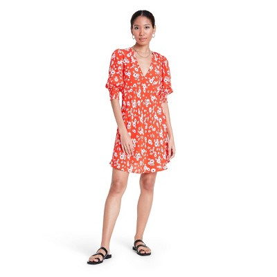 Floral Puff Sleeve Swing Dress - RIXO for Target Red