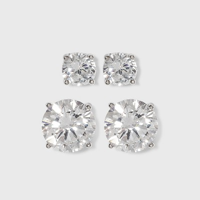 Women's Sterling Silver Stud Earrings Set of 2 Round 5MM/8MM Cubic Zirconia 2pc- A New Day™ Silver/Clear